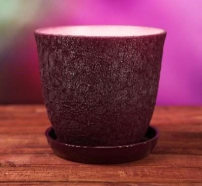 Горшок керамический Глория шелкография бордовый