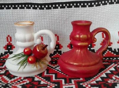 Подсвечники белый и красный