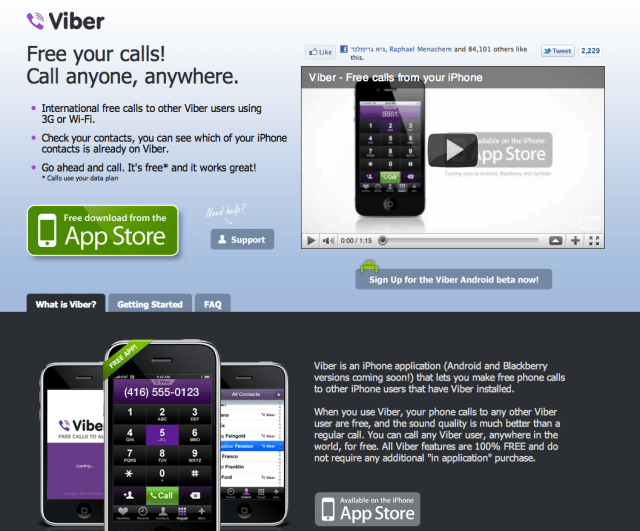viber.com iphone app home page