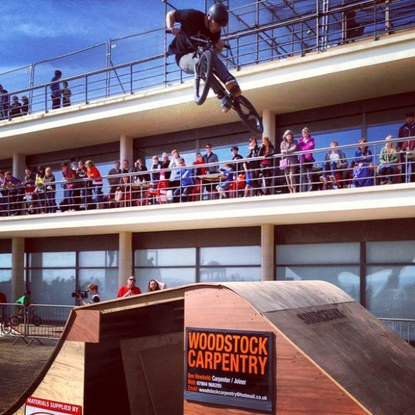 Amazing BMX tricks at the Source BMX 10th Anniversary showcase at the De La Warr Pavilion, Bexhill