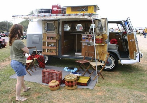Westfalia camping interior options  on a VW Split screen camper