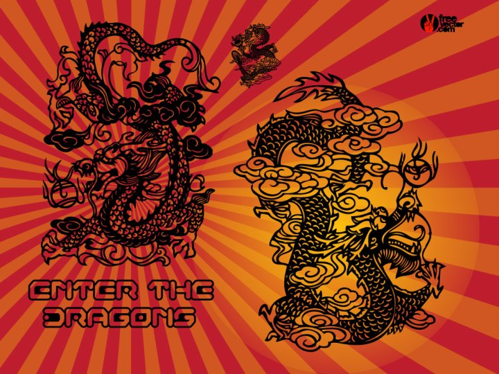 Enter The Chinese Dragons. 1024 x 768.Chinese New Year Symbols Clip Art