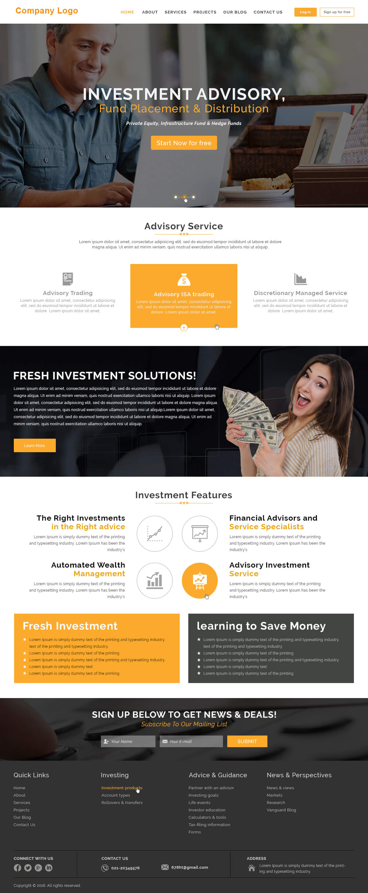 Investment Company Website Templates