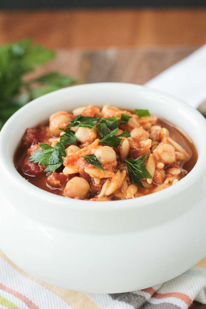 Slow Cooker Red Lentil Stew with Chickpeas and OrzoVeggie Inspired