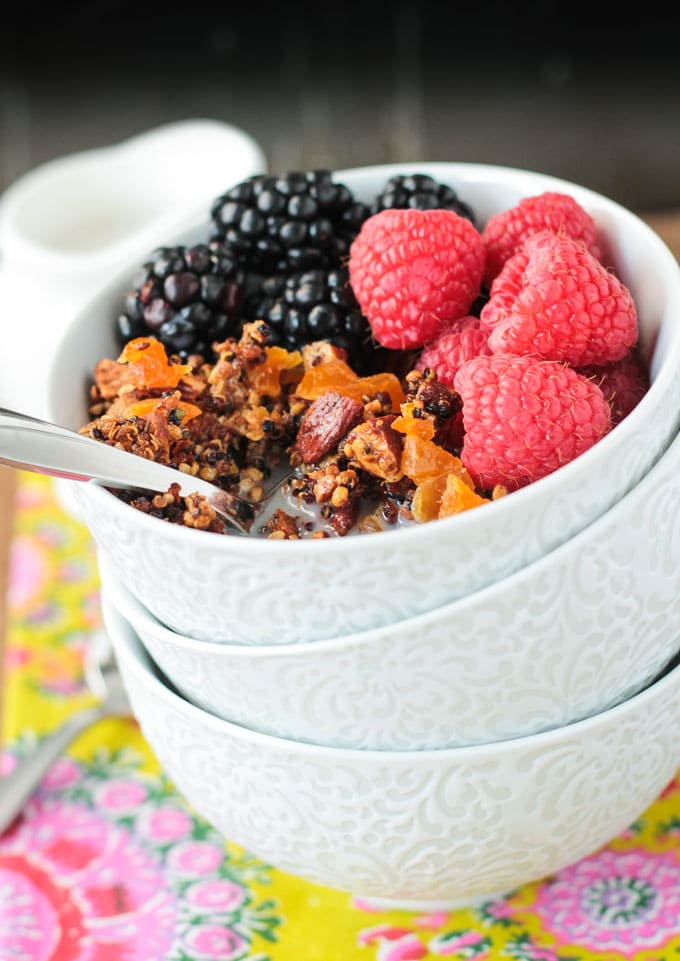 Crunchy Quinoa Breakfast Cereal ~ Veggie Inspired