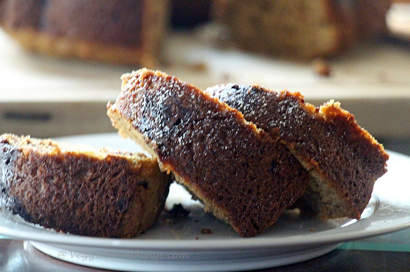 Banana Bundt Bread - Eggless , Whole Wheat and Delicious !