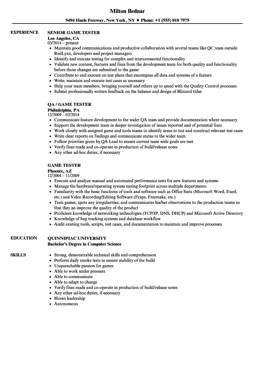 Superior Game Tester Resume Samples Velvet Jobs