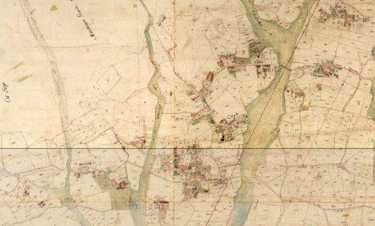 Le centre de Borso, selon la carte du cadastre napoléonien (1811)
