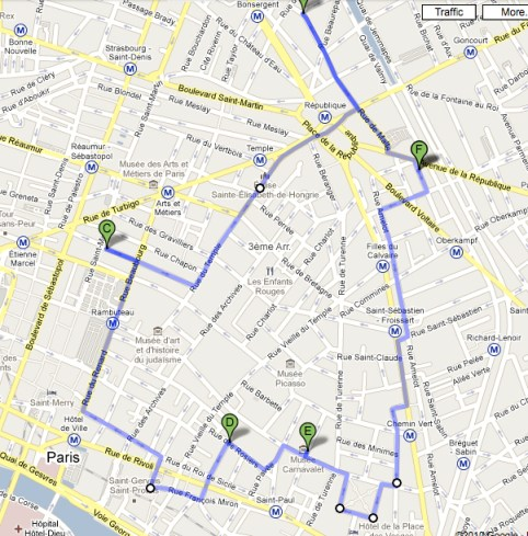 if you go to paris do this walk click it for full map i am not even effing around it takes you past the very pretty square on rue du temple
