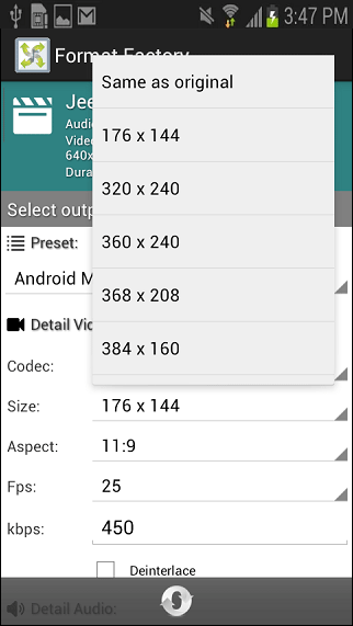 Format Factory android converter