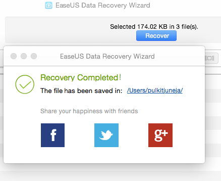 Recovery Completed in EaseUS Data Recovery