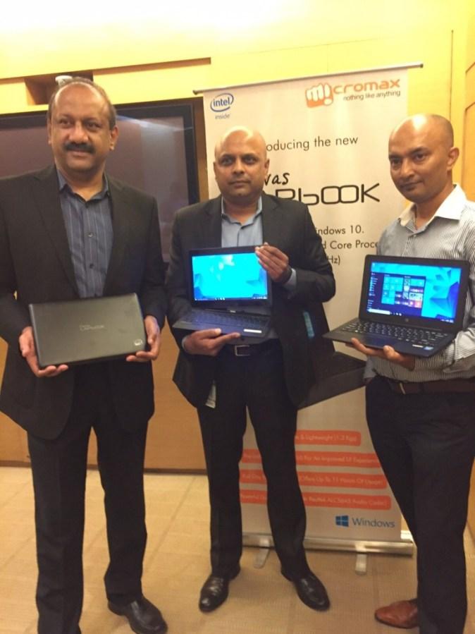L-R Sharlin Thayil, Group Director- OEM, Microsoft India, Amit  Gupta Director Business Development at Intel & Shubhajit Sen, Chief Marketing  Officer at Microsoft Launching the Canavs Lapbook