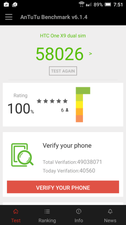 HTC One X9 AnTuTu Benchmark Score
