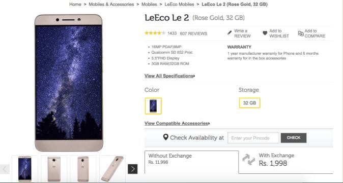 LeEco Le 2 Flipkart