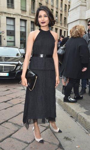 In Salvatore Ferragamo at Milan Fashion Week, 2015