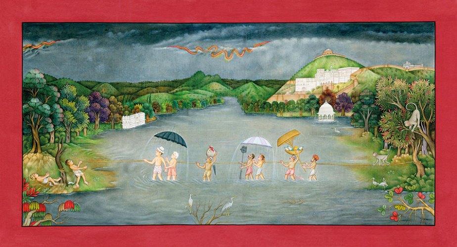 Waswo X. Waswo and R. Vijay, A Dream of Deluge, 2012, gouache on wasli