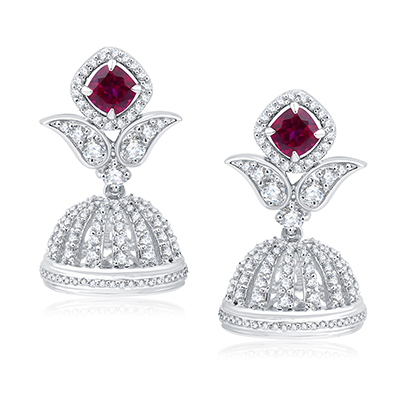 Adawna earrings with red hydo and Swarovski crystals in silver