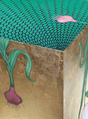 Aisha Khalid, I was you (detail), 2015, gouache and gold leaf on paper board, 30 x 30 x 30 cms
