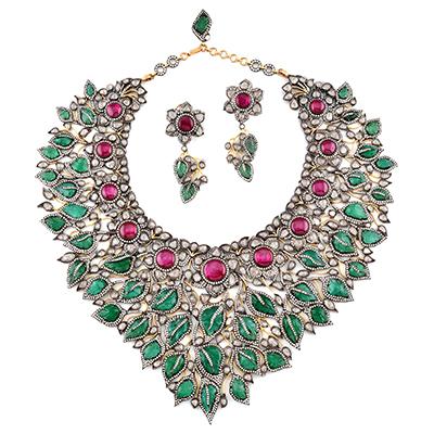 Amrapali Sadabahar necklace with emeralds and rubies