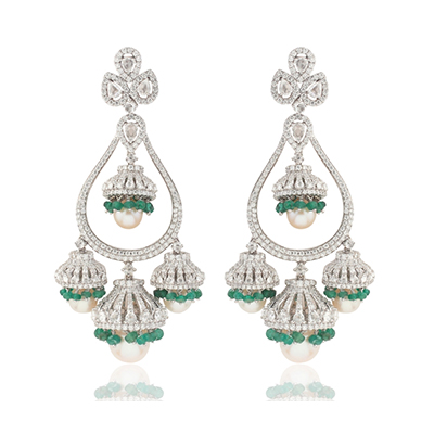 Aurelle by Leshna Shah earrings with emerald beads in 18-carat white gold