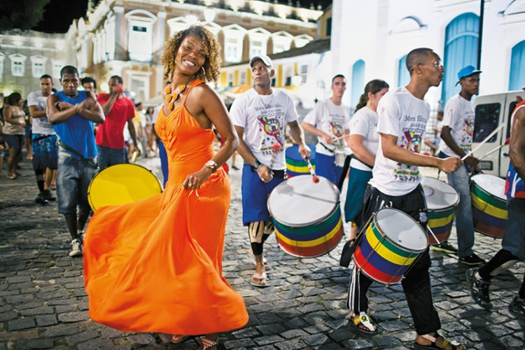 Street drummers in Pelhourinho, the colonial city centre of Salvador