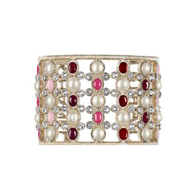 Chanel cuff with gold, crystals, and pearls