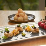 Scallops with Champagne Gel and Lychees