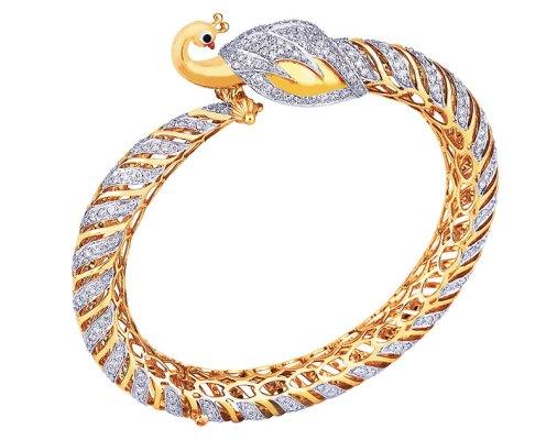 Diamond studded peacock bangle, in 18-carat gold
