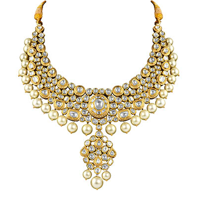 Ghanasingh Be True Bridal Collection necklace with uncut diamonds and pearls, in 18-carat gold