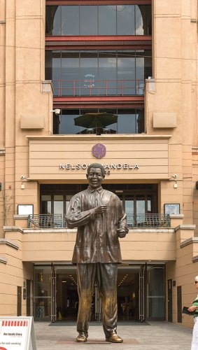 A statue of the Nobel laureate in Sandton's Nelson Mandela Square