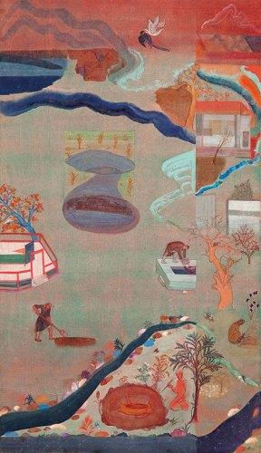 Nilima Sheikh, A Pastoral, 2003, mixed tempera on wasli paper, 70 x 40 cm