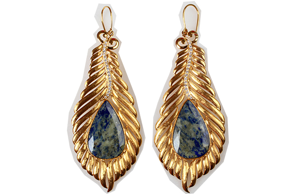 Earrings from PNG Jewellers crafted in gold with semi precious stones.