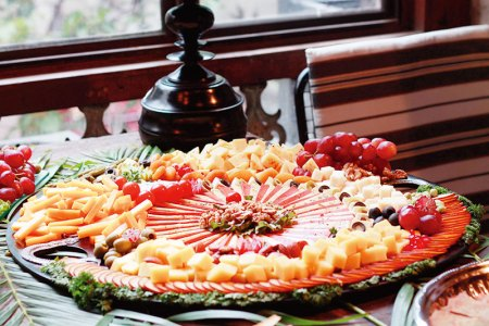 The Nature's Basket cheese platters added colour to the Rahul Mishra talk