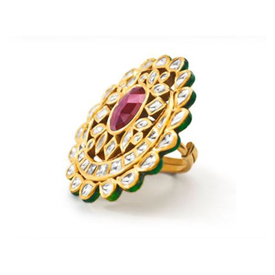 TBZ The Original ring with uncut diamonds and a ruby