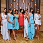 Models sashayed down the makeshift aisle in stunning asymmetrical mint blue and white creations, conceptualised by Alesia Raut