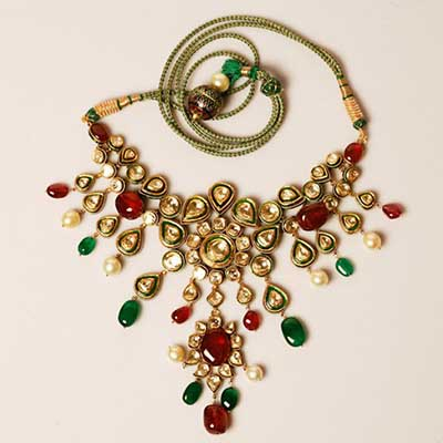 Sanzany Jewellery uncut polki necklace with rubies and emeralds
