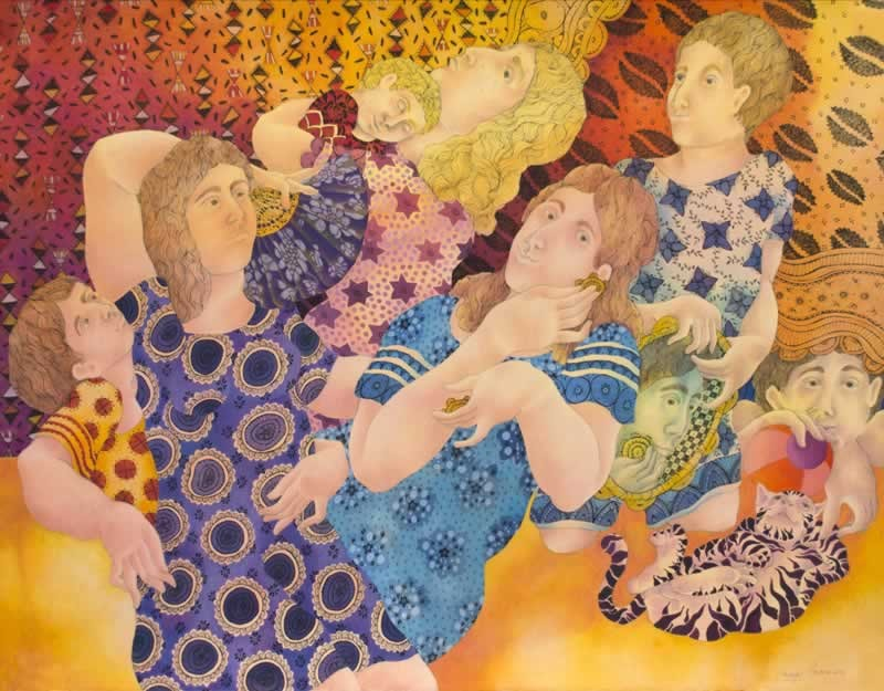 "MAYA BURMAN, 'SIESTA IN THE PARK', WATERCOLOUR, PEN & INK ON PAPER, 19"" X 25"", 2014"