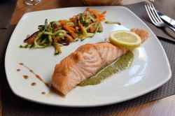 Adorable Restaurant Healthy Ways To Serve Salmon What Goes Good Salmon Pink What Goes Good Fresh Meal Served On Table Angle View Salmon Quiche