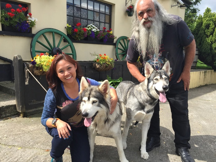With two direwolves and a Wildling chief