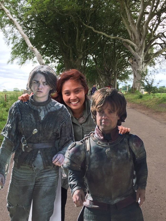 With cardboard Arya and Tyrion on the King's Road