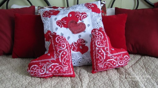 Valentine's Day Crafts - Small Heart Shaped Bandanna Toss Pillows