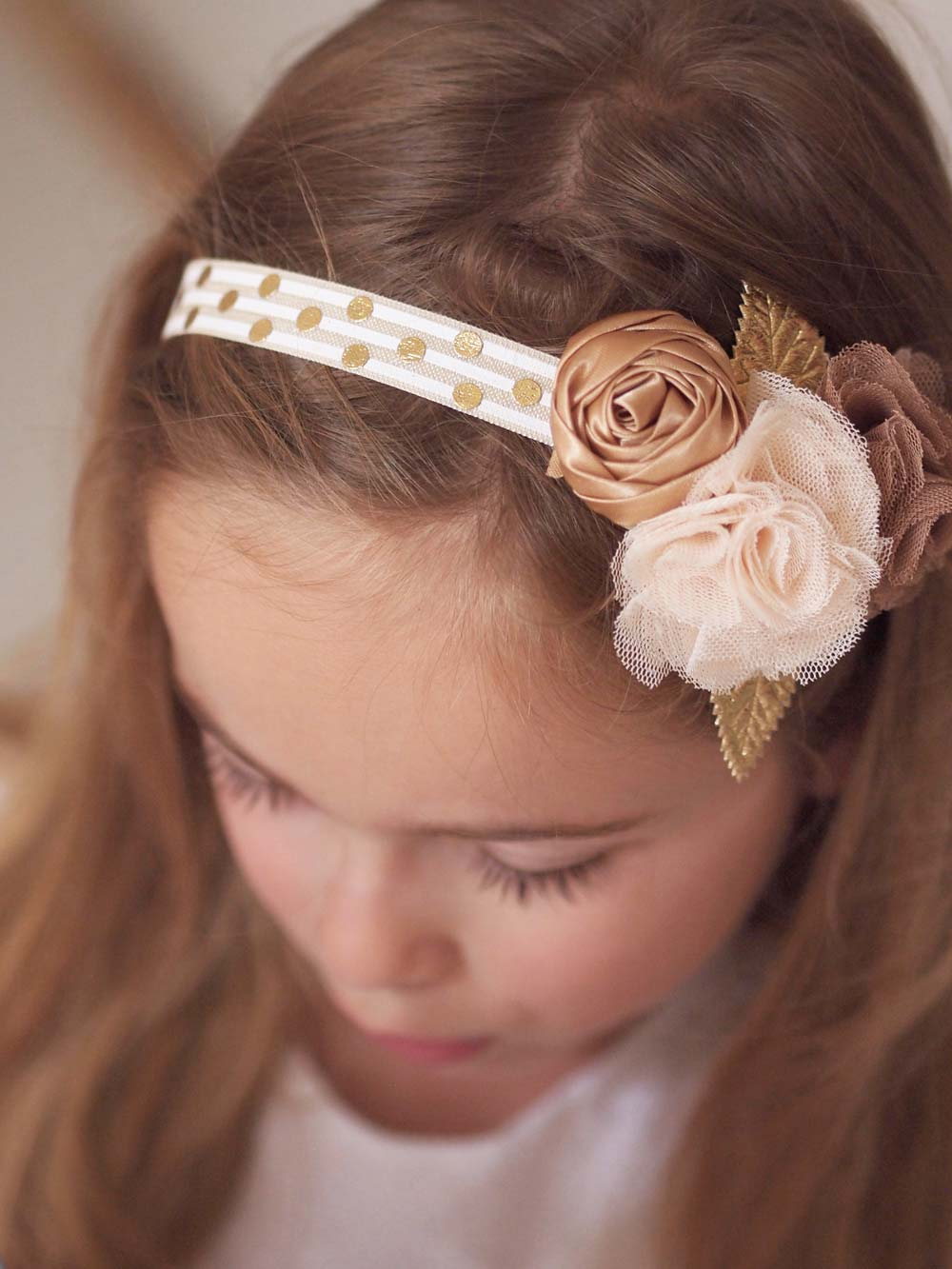 Autumn Gold Flower Girl Headband