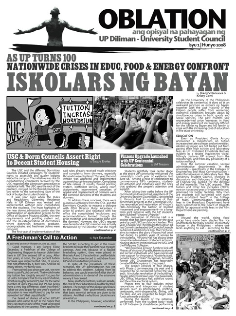 Oblation - University Student Council Official Newsletter
