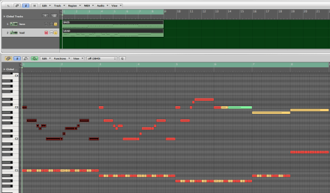 The highlighted section just repeats over and over again while the changing bass line modifies the feeling.