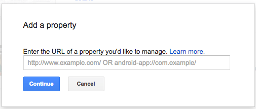 type in url of your web property