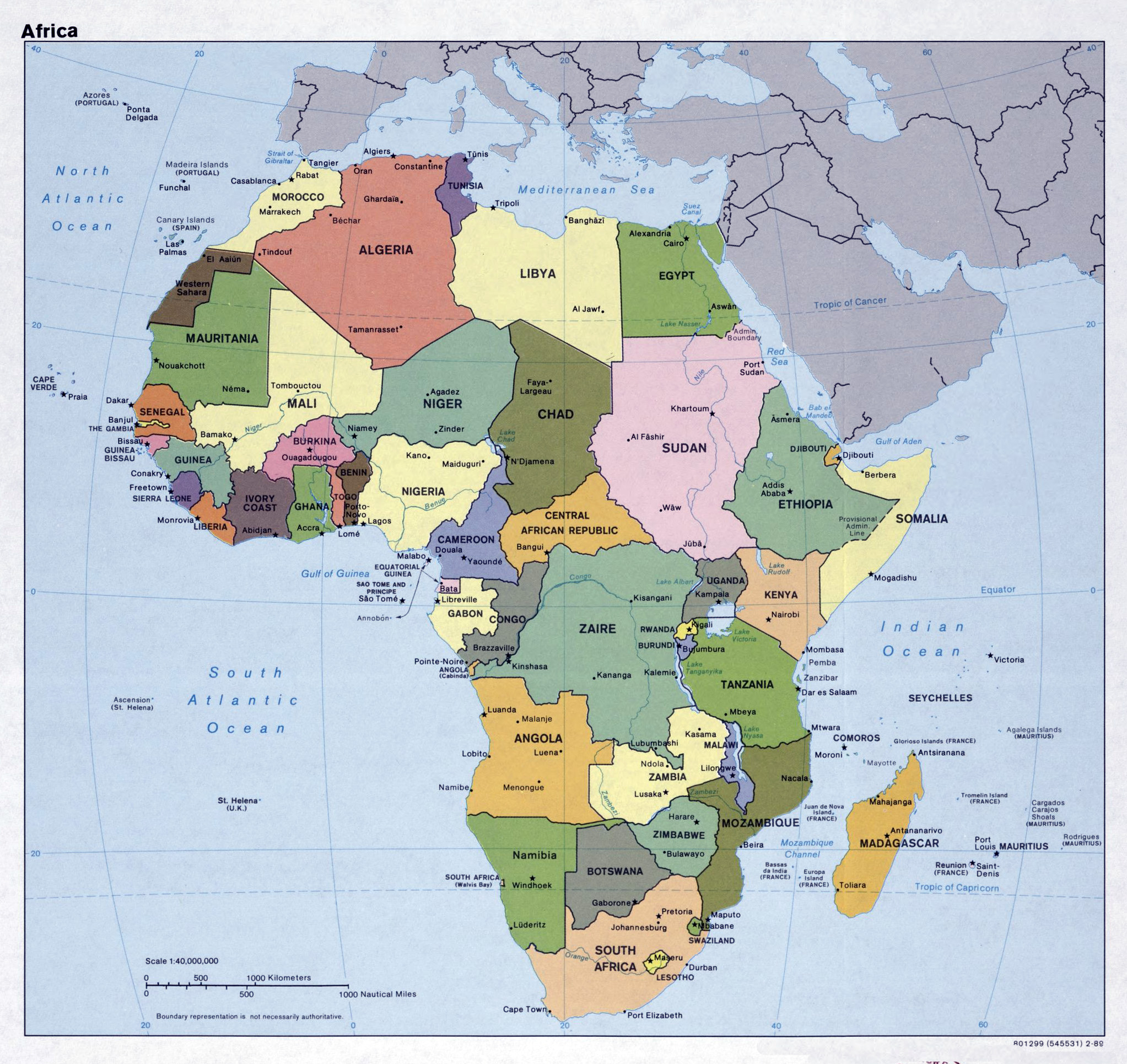 map of africa capitols