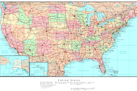 large detailed political and road map of the usa. the usa
