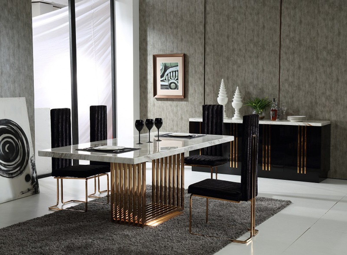 modrest kingsley modern marble rosegold dining table modern kitchen table chairs Modrest Kingsley Modern Marble Rosegold Dining Table