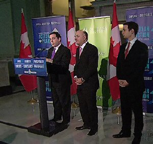 From left to right: Jason Kenney, Canada's Minister of Citizenship, Immigration and Multiculturalism; Kevin O'Leary, Chairman of O'Leary Ventures and O'Leary Funds; Alex Kenjeev, President of O'Leary Ventures