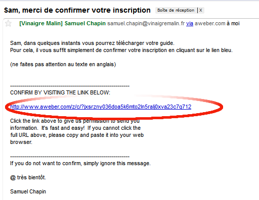 Cliquez sur le lien bleu de votre email de confirmation